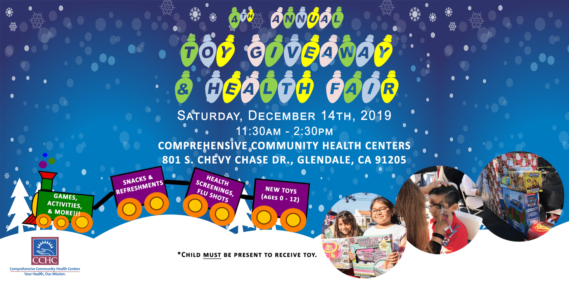 th annual toy giveaway health fair banner for social media